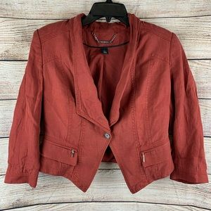 WHBM  Red Linen Cropped Button Front Blazer Size 8